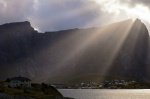 sunbeams, reine, village, fjord, reinefjorden, clouds, storm, lofoten, norway, 2013, photo