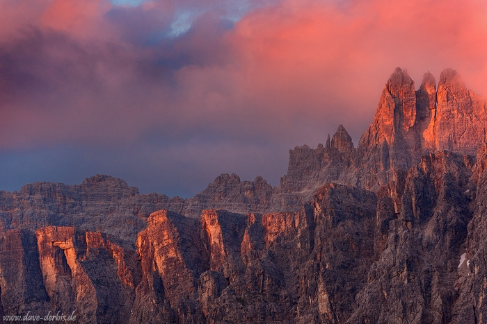 sunset, alpenglow, mountains, rugged, dolomites, italy, 2016, photo
