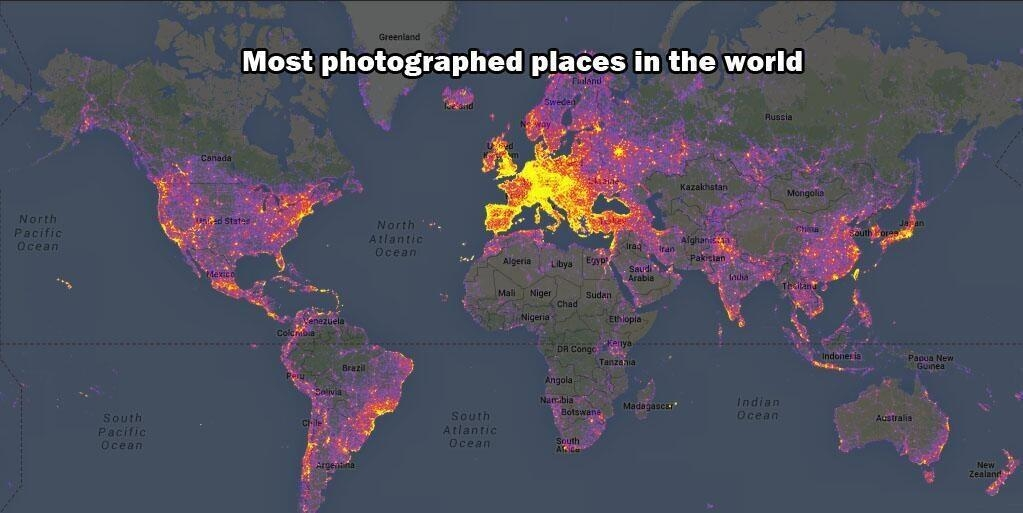 most, photographed, places, earth, map, photo