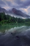 sunrise, forest, lake, mountains, reflection, fog, hintersee, alps, germany, 2020, photo