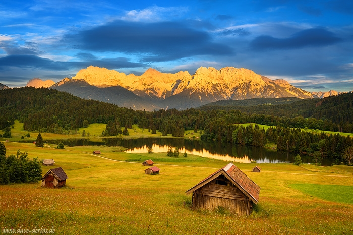 sunset, golden hour, mountains, alps, flower, lake, germany, 2020, photo