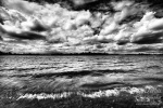 lake, clouds, dramatic, sky, pond, shore, waves, crashing, germany, bnw, photo