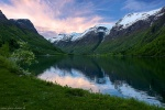 sunset, lake, mountains, snow, glacier, norway, 2015, latest, photo