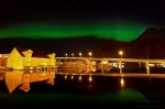 norway, lofoten, night, city, svolvaer, northern lights, aurora borealis, 2013, photo