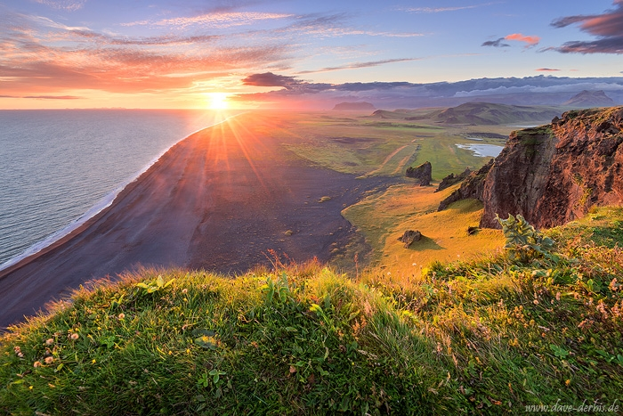 sunset, beach, coast, sunstar, rugged, cliff, sun, iceland, 2016, photo