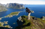 greetings, from, lofoten, norway, summer, mountain, fjord, rugged, selfie, 2013, photo