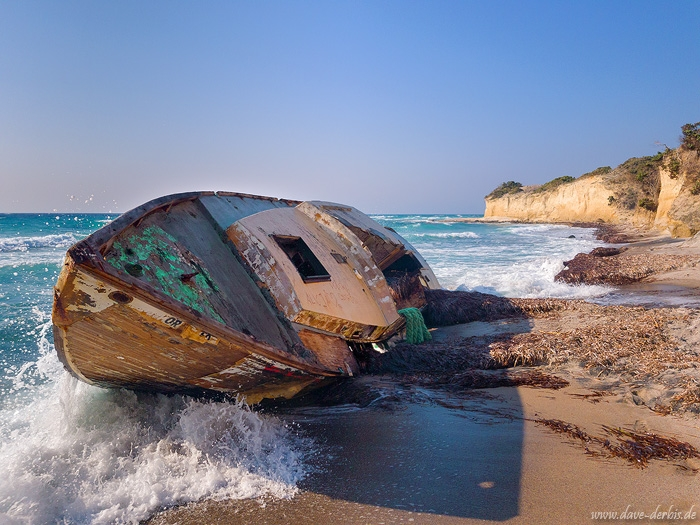 ship, boat, surf, coast, beach, summer, fishing, cliff, kos, greece, 2018, photo