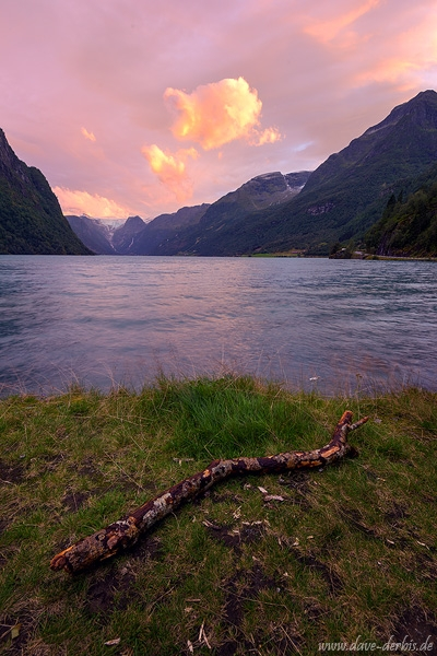 sunset, lake, mountains, glacier, fjord, pink, norway, 2019, photo