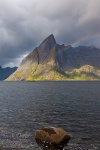 storm, rainbow, fjord, mountain, reine, lofoten, norway, 2013, photo
