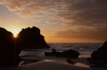 atlantic, sunset, twilight, orange, coast, beach, ocean, stone, wild, cliff, portugal, 2012, Portugal, photo