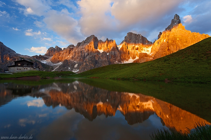 mountain, sunset, lake, Baita Segantini, reflection, San Martino, Dolomites, alpenglow, italy, 2011, photo