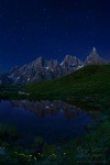 night, dolomites, stars, lake, reflection, mountains, italy, 2011, Italy, photo