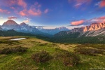 sunset, mountains, view, lake, alpine, rugged, pass, dolomites, italy, 2016