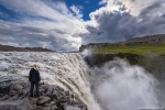 waterfall, falls, highlands, dettifoss, river, spray, person, iceland, 2016, photo