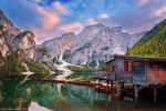 sunset, lake, alpine, autumn, mountains, boat, hut, dolomites, italy, 2018, photo