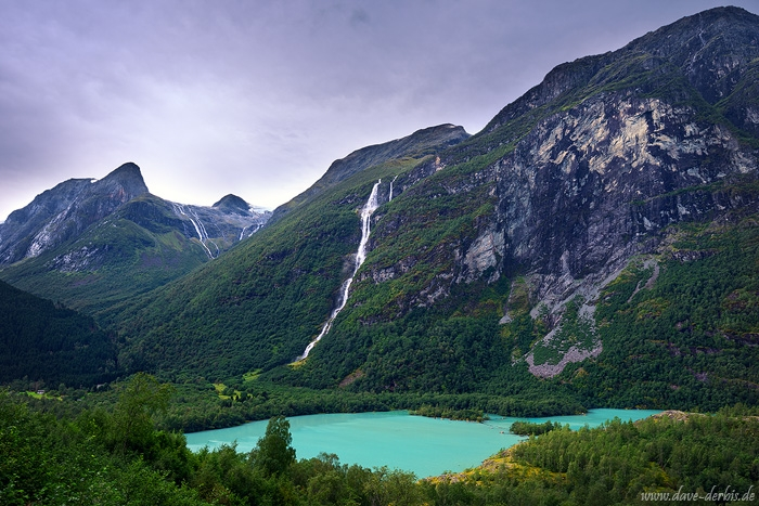waterfall, lake, glacier, fjord, mountains, norway, 2019, photo