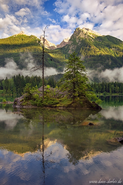 hintersee, island, mountain, alps, sunset, golden hour, raven, bavaria, germany, 2018, photo