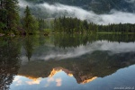sunset, mountain, lake, fog, rain, forest, reflection, alps, germany, 2018, photo