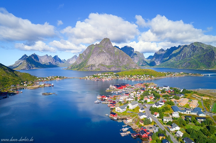 reine, summer, mountains, drone, village, harbour, postcard, lofoten, arctic, norway, 2017, photo