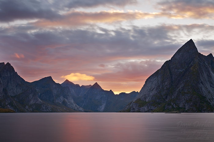 fjord, mountain, rugged, sunset, lofoten, norway, 2013, photo