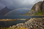 norway, lofoten, reine, rainbow, fjord, rain, mountain, 2013, photo