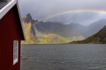 rainbow, norway, lofoten, fjord, mountain, reine, photo