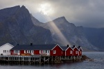 fjord, norway, lofoten, rorbuer, hut, sunbeams, storm, mountain, 2013, photo