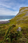 beach, kvalvika, mountain, rugged, coast, norway, lofoten, photo