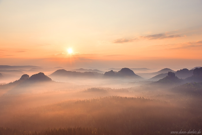 sunrise, mountains, valley, forest, saxon switzerland, sun, sunstar, fog, golden, germany, 2017, photo