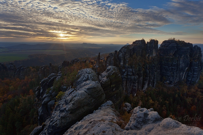 saxon switzerland, autumn, sunset, sunstar, germany, 2013, photo