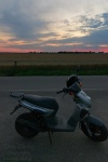 scooter, sunset, corn, field, germany, 2013, photo