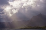 sunbeams, mountain, fjord, storm, clouds, village, lofoten, norway, 2013, photo