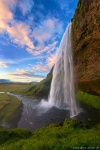 sunset, waterfall, cliff, cave, falls, coast, iceland, 2016, photo