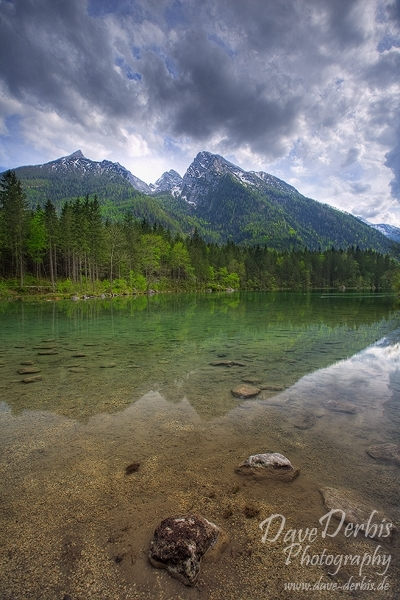 alpen, berchtesgaden, hintersee, lake, reflection, pond, nationalpark, flooded, berg, schneebedeckt, blau, himmel, blue sky, mountain, stones, forest, wald, bayern, germany, photo