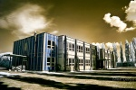 shadow, chernobyl, tschernobyl, school, infrared, calbe, gymnasium, grammar school, disaster, photo