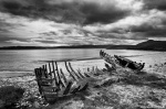 bnw, beach, ship, clouds, bay, wreck, coast, beach, scotland, 2014, photo