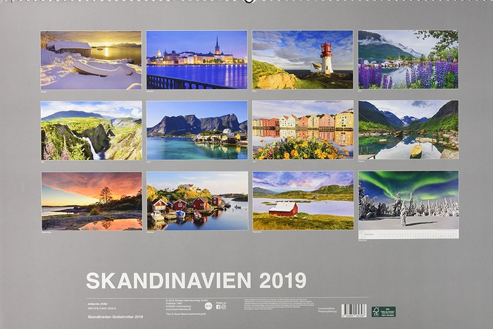 skandinavien, globetrotter, kalender, landschaft, 2019, photo
