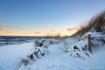 beach, winter, snow, sunrise, coast, baltic sea, germany, photo