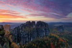 sunset, autumn, mountain, rugged, national park, saxon switzerland, germany, Germany, photo