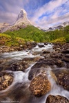 mountain, stream, forest, sunset, cascade, ofoten, norway, 2017, Norway, photo