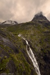 waterfall, rorbuer, falls, trollstigen, cottage, hut, mountains, norway, 2019, photo