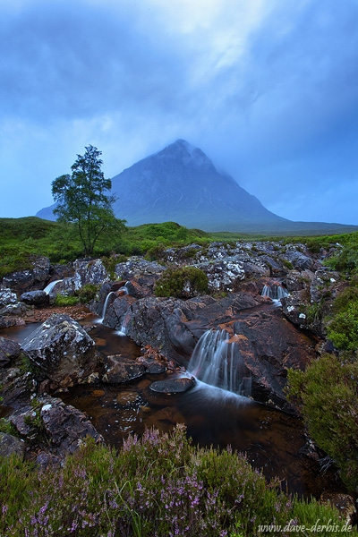 mountain, highlands, blue hour, waterfall, clouds, rain, summer, scotland, 2014, photo