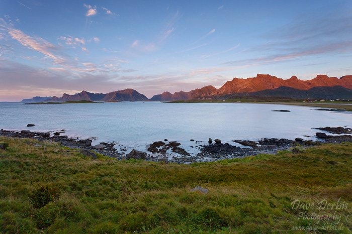 sunset, lofoten, norway, beach, mountain, alpenglow, photo