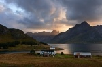 fjord, sunset, mountain, house, lofoten, norway, 2013, photo