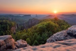 sunset, sun, summer, mountains, forest, view, rugged, saxon switzerland, germany, 2018, photo