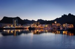 svolvaer, city, harbour, mountain, night, lofoten, norway, 2013, photo