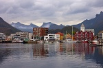 svolvaer, harbour, reflection, rugged, mountain, city, lofoten, norway, 2013, photo