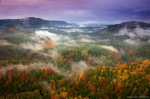 autumn, clouds, valley, sunset, fog, national park, saxony, forest, germany, photo