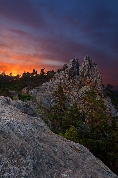 harz, sunset, thale, striking, fire, sky, stone, devil, wall, teufelsmauer, timmenrode, photo