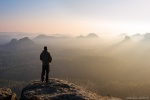 sunrise, hiking, saxon switzerland, wanderer, view, valley, germany, latest, photo